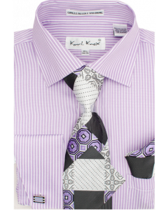 Karl Knox Men's French Cuff Shirt Set - Triple Pattern Checker