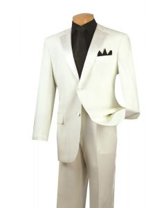Vinci Men's Outlet 2 Piece Poplin Tuxedo - Satin Trim and Buttons