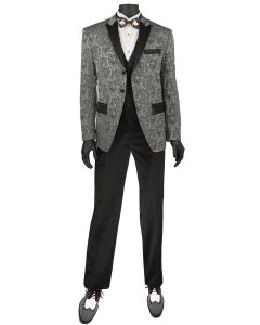Vinci Men's 3 Piece Slim Fit Fashion Suit - Tuxedo Style