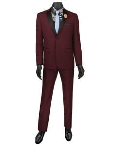 Vinci Men's 2 Piece Wool Feel Slim Fit Tuxedo - Flat Front Pant