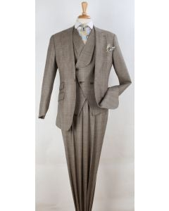 Apollo King Men's 3pc 100% Wool Suit - Slanted Fashion Vest