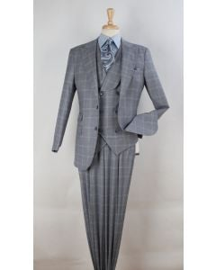 Apollo King Men's 3pc 100% Wool Suit - 6 Button Vest