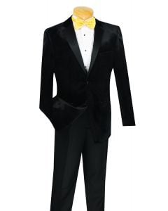 Vinci Men's Outlet 2 Piece Wool Feel Slim Fit Tuxedo - Velvet Jacket