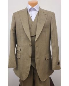 Apollo King Men's Outlet 3pc 100% Wool Suit - 6 Button Vest