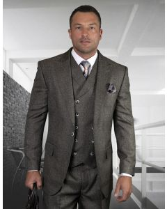 Statement Men's 100% Wool 3 Piece Suit - Textured Solid Color