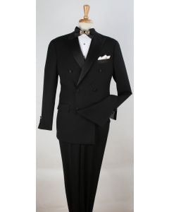 Apollo King Men's 2pc 100% Wool Tuxedo - Satin Peak Lapel