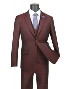 Vinci Men's 3 Piece Wool Feel Slim Fit Suit - Sharkskin