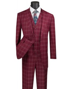 Vinci Men's 3 Piece Wool Feel Executive Suit - Glen Plaid