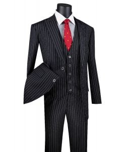 Vinci Men's 3 Piece Wool Feel Executive Suit - Big and Tall