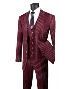 Vinci Men's 3 Piece Wool Feel Executive Suit - Vibrant Pinstripe