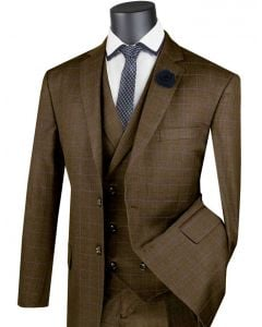 Vinci Men's 3 Piece Classic Suit - Double Breasted Vest