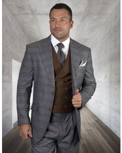 Statement Men's 100% Wool 3 Piece Suit - Fashion Two Tone