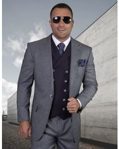 Statement Men's Outlet 100% Wool 3 Piece Suit - Thin Windowpane