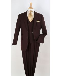 Apollo King Men's 3pc 100% Wool Fashion Suit - Unique Vest