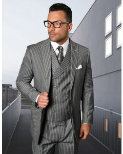 Statement Men's 3 Piece 100% Wool Fashion Outlet Suit - Bold Pinstripe