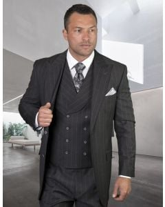 Statement Men's 100% Wool 3 Piece Suit - Two Tone Pinstripe