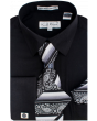Karl Knox Men's French Cuff Shirt Set - Jacquard Stripes
