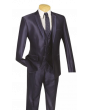 Vinci Men's Wool Feel 3 Piece Ultra Slim Fit Suit - Sharkskin